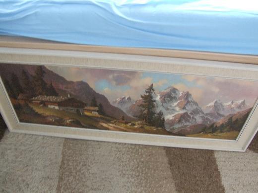 Wandbild: Maler Trelony signiert, farbige Alpenlandschaft