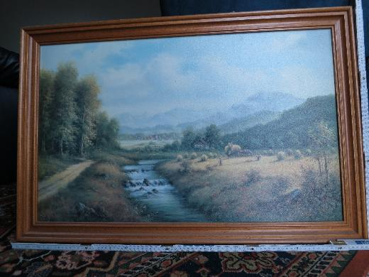 Signiertes Landschaftsbild mit Heu-Ernte, Bild, Gemälde