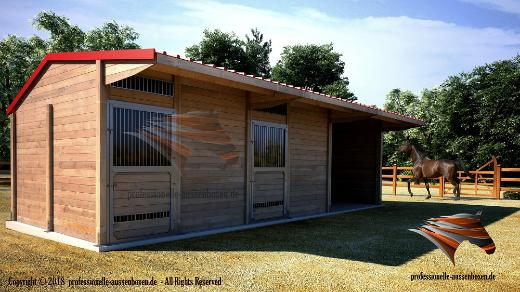 Aussenboxen, Pferdeställe, Pferdeboxen, Weidehütte, Offenstall, Pferdeunterstand, Weideunterstand, Unterstand - Kolbingen
