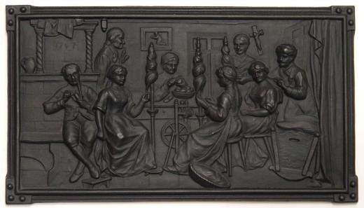 Metal-Guss-Reliefplatte, Haushaltsszene. 1,4 Kg