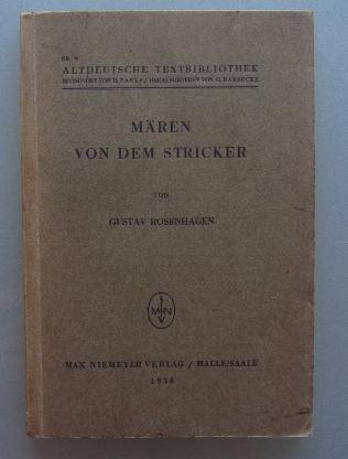 Rosenhagen: Mären von dem Stricker (1934)