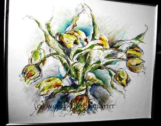 Tulpenimpression - Ölpastellkreiden 60 x 50 cm Original Ingrid Wolff-Bleekmann