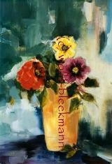 Blumen mit Vase - Acryl auf Leinwand 40 x 50 cm Original Ingrid Wolff-Bleekmann