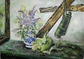 Stillleben mit Mais Öl auf Leinwand 70 x 50 cm Original Unikat Ingrid Wolff-Bleekmann - Münster