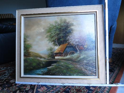 Signiertes Landschaftsbild mit Wassermühle, Bild, Gemälde
