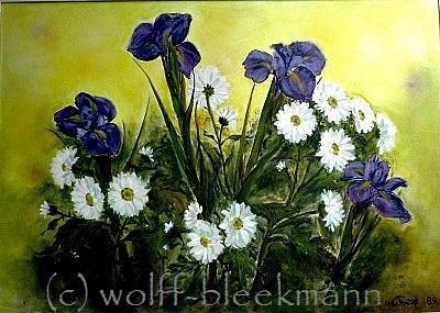 Iris mit Margeriten, Öl auf Leinwand, 70 x 50 cm, Original, Unikat, Wolff-Bleekmann