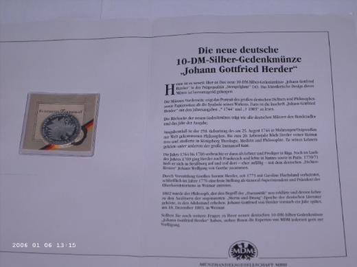 10 DM Silber Gedenkmünze von Johann Gottfried Herder