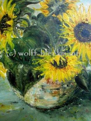 """""""Sonnenblumen"""" - Öl auf Leinwand mit Rahmen 81 x 61 cm Original Ingrid Wolff-Bleekmann - Münster"""