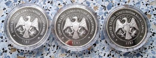 Münzen drei Stück, 200 Jahre Verfassung der Vereinigten Staaten von Amerika