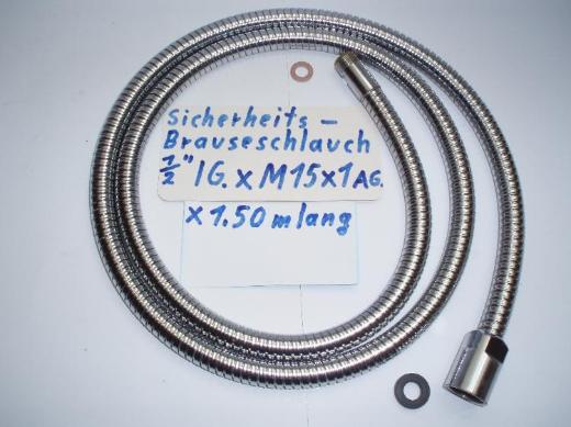 """Geschirr- Brauseschlauch Edelstahl 1/2"""" IG x M15 x1 AG, x 1,50 m lang - gebraucht"""