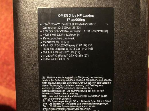 HP Omen X 17-AP000NP 17,3 Zoll Full HD - Moers