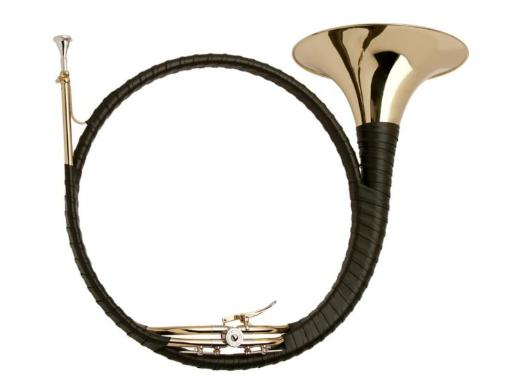 Meister J. Dotzauer Super de Luxe B / Es Ventil - Parforcehorn aus Goldmessing. Neuware inkl. Tasche