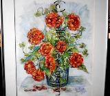 Tulpen-Stillleben - Ölkreide 30 x 40 cm Original Ingrid Wolff-Bleekmann - Münster