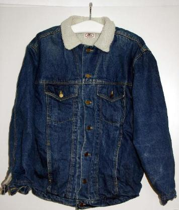 Jeans-Sherpa-Jacke, XL, von Anvil, gefüttert