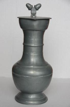 Zinnkrug mit Deckel, ca. 23 cm hoch - Münster