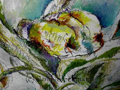 Tulpenimpression - Ölpastellkreiden 60 x 50 cm Original Ingrid Wolff-Bleekmann - Münster