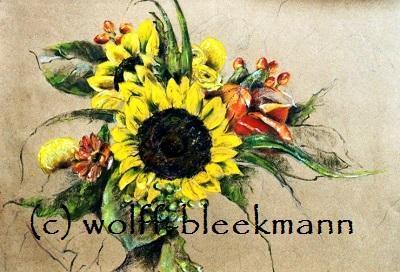 Gesteck mit Sonnenblumen - Ölpastellkreiden – Caran d'Ache - auf farbigem Ingrespapier 60 x 50 cm Unikat Ingrid Wolff-Bleekmann - Münster