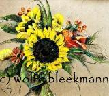 Gesteck mit Sonnenblumen - Ölpastellkreiden – Caran d'Ache - auf farbigem Ingrespapier 60 x 50 cm Unikat Ingrid Wolff-Bleekmann in 48143