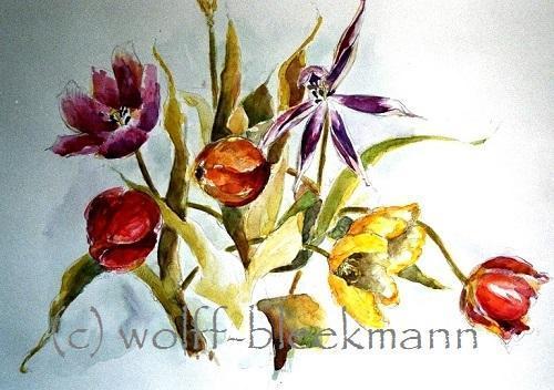 Tulpen, kurz vor dem Verblühen - Aquarell 60 x 50 cm Original Ingrid Wolff-Bleekmann