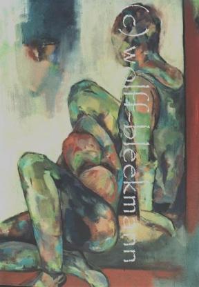 In Gedanken verloren... - Acryl auf Leinwand 70 x 90 cm Original Ingrid Wolff-Bleekmann