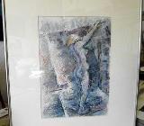 Frau im Raum, Serie 12.96 IV – Ölpastellkreiden – Caran d'Ache - 40 x 50 cm Original Ingrid Wolff-Bleekmann - Münster