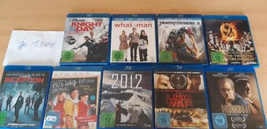 blurays je 1,50€ (inception, what a man, 2012,transformers 3, Knight and Day, Drunkboat, Die Tribute von Panem, ...