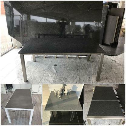 Esstisch mit Edelstahlgestell und Granit/Marmor Tischplatte