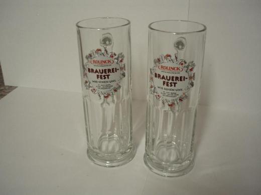 2 St. neue, original Rolinck Glas-Bierkrüge 0,3 L. von der Privatbrauerei Rolinck aus Steinfurt