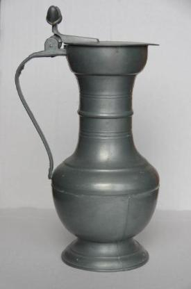Zinnkrug mit Deckel, ca. 23 cm