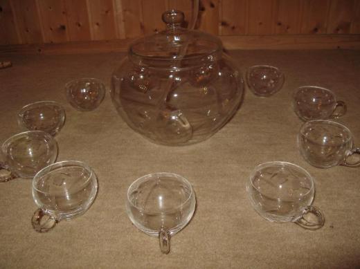 Punschset für 10 Personen; Glas mit Gravur, ca. 30er Jahre - Oldenburg (Oldenburg) Osternburg