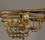 Meister J. Scherzer Piccolotrompete, Mod. 8111-AU, 24 Kt. vergoldet, Neuware / OVP