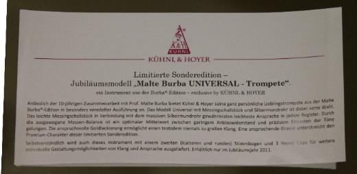Kühnl & Hoyer Universal Trompete Malte Burba Jubiläumsmodell, Neuware - Bremen Mitte