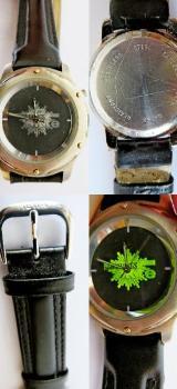 Top Sammler-Edelstahl-Armbanduhr, Lederarmband, Beleuchtung, selten! - Diepholz