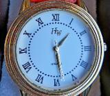 "Unisex-Edelst.-Marken-Armbanduhr ""HW"", goldfbg., Lederarmband - Neu/OVP - Diepholz"