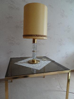 zwei Beistelltische, goldfarben mit Rauchglas-Platte, 70er Jahre - Bremen Horn-Lehe