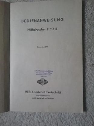 Bedienanweisung Fortschritt Mähdrescher E 516 B - Langwedel (Weser)