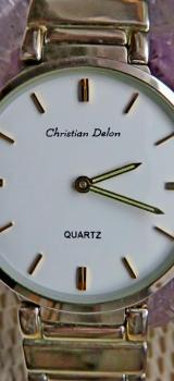 "Flache Marken-Armbanduhr ""Christian Delon"" mit Gliederarmband, Batterie neu, ansehen! - Diepholz"