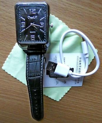 Armbanduhr mit Glühspiralen-Feuerzeug, Lederarmband, USB-Kabel, ungetragen, neu! - Diepholz