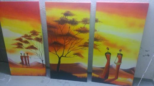 3 TEILIGES Afrika Leinwandbild 110 X 54 SAVANNE - Bremen
