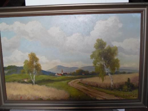 Wandbild Ölgemälde Landschaft mit zwei Birken und Ortschaft vom norddeutschen Künstler H. Kuhlmann - Berne