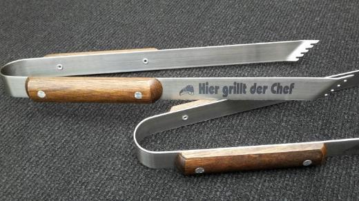 Grillzange mit Holzgriff, Gravur, Geburtstagsgeschenk für den Grillmeister - Oldenburg (Oldenburg) Bloherfelde