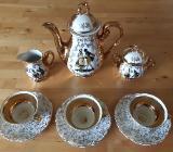 Royal Bavaria Kaffeetassen Gold Flower & 3 Kanne BAVARIA (KK) - 22 Karat Gold Handarbeit - Barnstorf