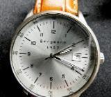 "Für Sammler: ""Bergmann 1957"" Edelstahl-Armbanduhr, neues Lederarmband + Batterie, in OVP - Diepholz"