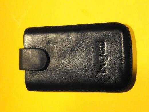 Smartphone Tasche Bugatti, Leder schwarz, mit Magnetlasche - Bassum