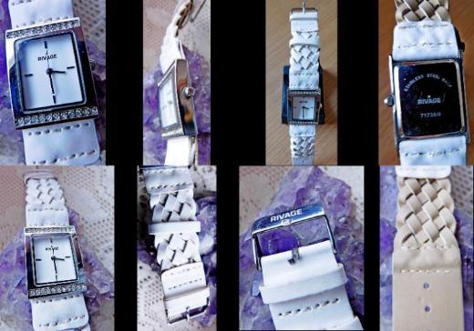 Weiße Damen-Markenuhr, Edelstahl, Leder-Flechtarmband, Batterie neu - Diepholz