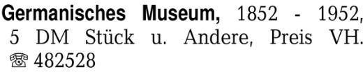 Germanisches Museum, 1852 -