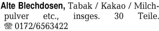 Alte Blechdosen, Tabak / - Worpswede