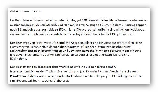 Antiker Esszimmertisch groß - Thedinghausen