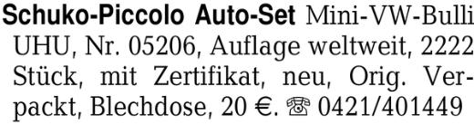 Schuko-Piccolo Auto-Set M -