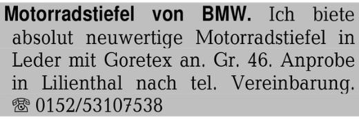 Motorradstiefel von BMW. - Lilienthal